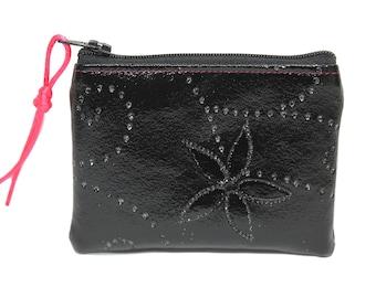 wallet black leather sequins