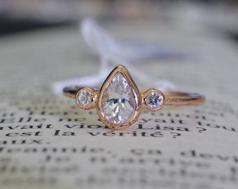 Pear shape, white sapphire ring, three stones, rose gold, bezel ring, promise ring,  with two side white sapphires, Free Shipping.