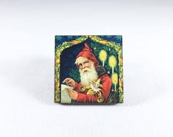 Santa Pin, Christmas Pin, Santa Claus Pin, Kris Kringle, Father Christmas, Vintage Christmas, Santa Brooch, Christmas Gift, Gift for Her