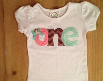 Pink, Brown, and Mint Green Monkey Birthday Shirt or Baby Bodysuit