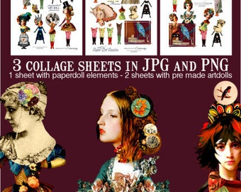 Paper Doll  / Art Doll Passion Digital Collage Sheet no234