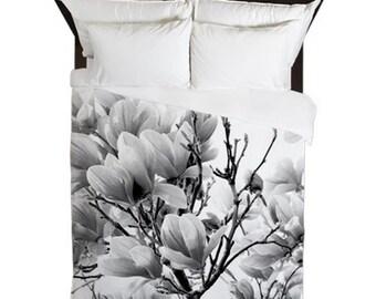 Duvet Cover, Magnolia, Floral, Shabby Chic Decor, Cottage Chic, Boho Duvet Cover, Country Home Decor, Farmhouse Decor, Black and White