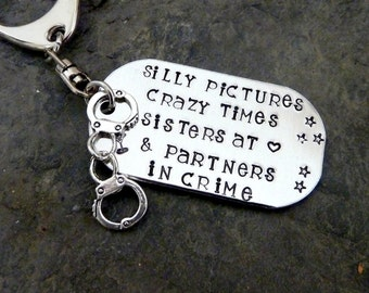 Partners in crime keyring, best friend gift, sister gift, handcuffs