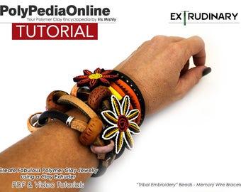 Polymer Clay Tutorial, Polymer Clay Jewelry, Focal Beads, Jewelry Tutorial, Memory Wire Bracelet, DIY Handmade Beads, Bracelet, Necklace