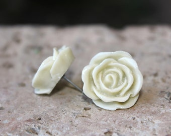 GORGEOUS SERIES - Large 20mm Rose Earrings  . . . Buy 3 Get 1 FREE . . . Cabochon Earrings, Nickel Free Earrings, Bridal Jewelry