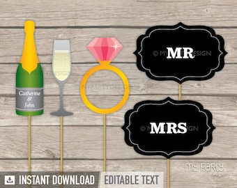 Photo Booth Props - Printable Wedding Photo Props - Props on a Stick - INSTANT DOWNLOAD - Printable PDF with Editable Text