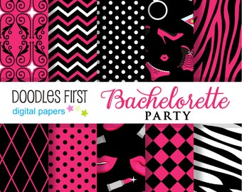 Bachelorette Party Digital Paper Pack Includes 10 for Scrapbooking Paper Crafts