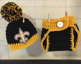 New Orleans Saints hat, New Orleans Saints baby hats, newborn New Orleans Saints hat, New Orleans baby photo prop hat, Saints diaper cover