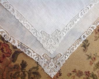 VINTAGE WEDDING HANDKERCHIEF. Unused. Still with tag. White Net Lace Wedding handkerchief. Embroidered lace handkerchief.