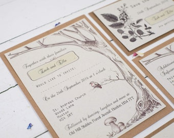 Woodland Wedding - Rustic Wedding Invitations -Woodland Invites - Wedding Invitations - Recycled Wedding Invitations - Deer Invitations -