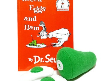 Felt Green Eggs and Ham, Gift Set Option with bonus hardcover book - gift packaging included!! eco-friendly felt play foods