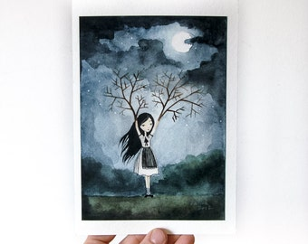 PRINT 5x7 - Girl with Branches - Lonely Fairytale Art Print, Watercolor illustration, night, dark, gloomy