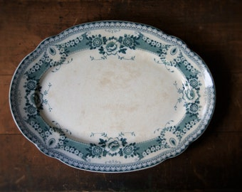 Antique English Ironstone Turkey Platter Bristol Pattern Teal Blue Green Transferware F & Sons Autumn Dining and Entertaining Serving Plate