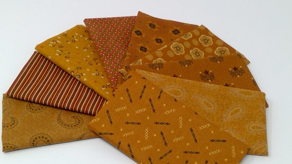 Kim Diehl Harvest Orange, 9 Hand Cut Fat Eighths, Cabin Style Primitive Cotton Quilt Fabrics With Sprigs, Flowers, Leaves, Stars, Stripes