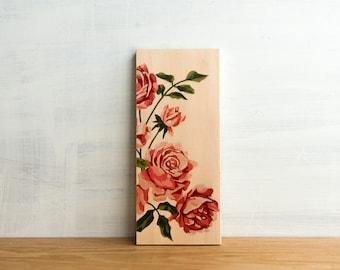 Vintage Roses Paint by Number Art Block - vintage art, pink roses