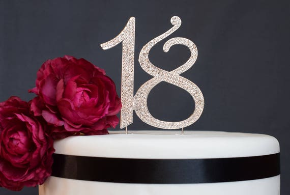 18th Birthday Gift 18 Cake Topper Silver Topper Number Eighteen 18th