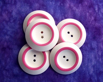 Large White Buttons, 34mm 1-1/4 inch - Ring-Around Pink on White Sewing Buttons - 5 VTG NOS Jackie-O Matte White Sew-Through Buttons PL052