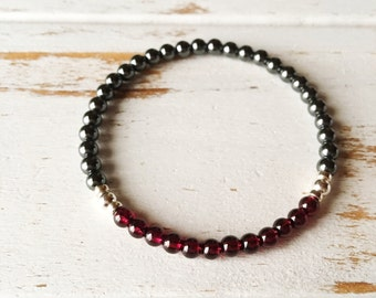 Strength & Grounding Bracelet, Garnet Hematite Bracelet 4mm Bracelet Healing Jewelry Intention Bracelet Yoga Jewelry