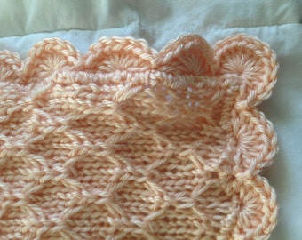 Hand Knit Baby Blanket in Honeycomb Pattern with Crocheted Edge - Made to order - many colors
