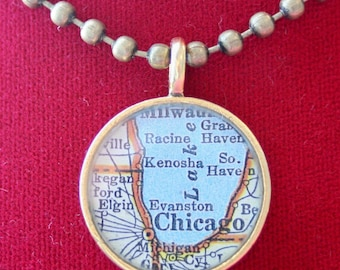 Map Pendant, Map Charm, Custom Order Option in Goldtone Round, You Name the Location