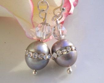 Grey Pearl Earrings w Silk Swarovski Crystals