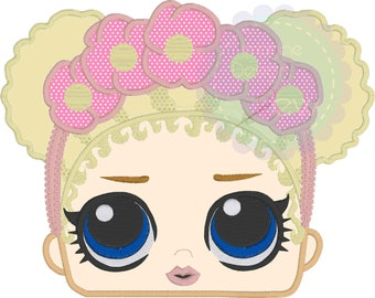 Lol Floral Child  Peeker Inspired machine embroidery applique design Instant Download 4x4 5x7 6x10