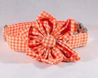 Preppy Orange Gingham Girl Dog Flower Bow Tie Collar