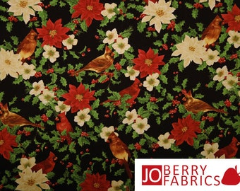 Winter Cardinals Fabric, Cardinals and Poinesettias, Deck the Halls by Jane Maday for Wilmington Prints, Quilt or Craft Fabric