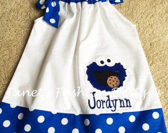 Sesame Street Blue Monster Polka Dot Dress-White and Royal Dots with Cookie Monster embroidered Pillowcase Dress - Fashion Muppets Dress