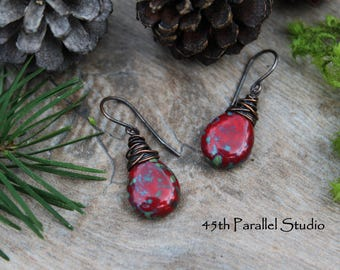 Red Picasso Copper Earrings, Czech Glass Earrings, Rustic Earrings, Red Earrings, Wire Wrapped Earrings, Beaded Earrings, Red Glass Earrings