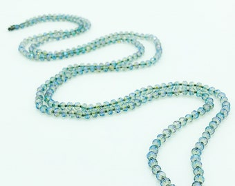 Rainbow Blue Rondelle Sparkling Glass Beaded Necklace. Double Strand Necklace. Lariat Necklace. Opera Length Necklace. Boho Beaded Necklace.