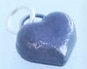 Solid Sterling Silver Heart Charm With Dark Patina