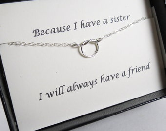Bridesmaid Gift Dainty Necklace Best Friend Gift Sterling Silver Necklace Knot Necklace Bridal Shower Sister Gift Friendship Necklace