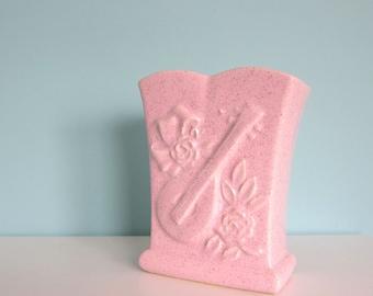Pretty Pink Retro Vase, Pink Mid Century Vase, Pink Mid Century Planter, Rose Vase, Music Themed Vase, Vintage Pink Florist Vase, Catch All