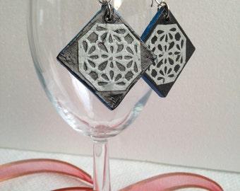 Handmade Hanji Paper Dangle Earrings Diamond Black Silver Floral Pattern Hypoallergenic hooks Lightweight Ear rings