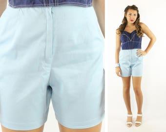 Vintage 60s High Waisted Shorts Light Blue Cotton 1950s Medium M Pinup Rockabilly