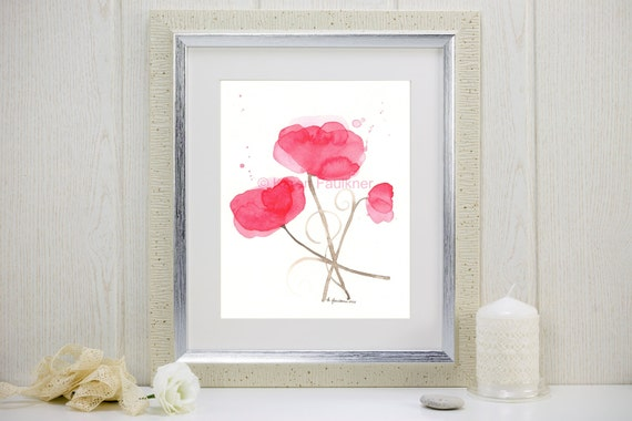 "Watercolor poppies, art print of red poppy flowers: ""Poppy Party"""