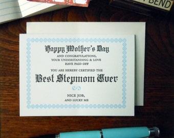 letterpress happy mother's day best stepmom ever certificate greeting card light blue & black ink