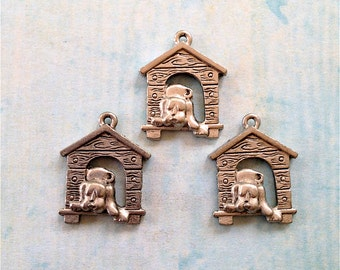 Doggie in the Doghouse Charms-4 pieces-(Antique Pewter Silver Finish)--style 981-