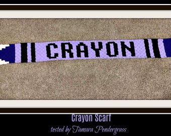Crayon Scarf, Crochet Pattern, C2C Graph, Written Word Chart, Crayon C2C Crochet