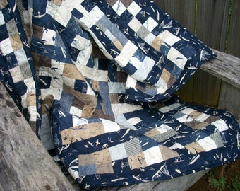 "Nautical Lap Quilt Throw Quilt ""By the Sea"" Beach House Quilted Navy Blue Indigo Quiltsy Handmade More Hearty Good Wishes FREE U.S. Shipping"