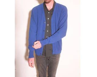Vintage 1990s Button Up Royal Blue Arrow Tournament Cardigan size XL