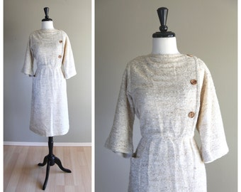 Lovely Vintage 1970s Nubby Linen Twill Day Dress / 1980s does 1950s
