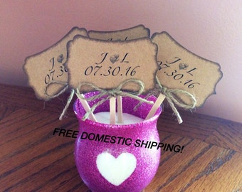Rustic Personalized Wedding Cupcake Toppers (6 pieces)