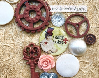 Baby Cakes mixed collage buttons steampunk 6x6 inches