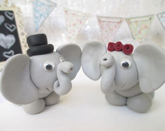 Cute Wedding Cake Topper, Elephant figurines, Bride and Groom, Wedding Decoration, His and Hers Cake Topper, Keepsake Cake Topper