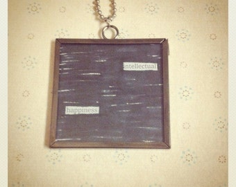 "Newspaper Poem Necklace ""Intellectual Happiness"""