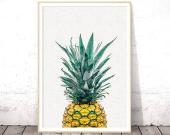 Pineapple Wall Art, Pineapple Print Art, Tropical Fruit Wall Art, Modern Kitchen Wall Decor, Pineapple Poster, Digital Download Art