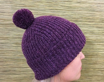 Purple knitted winter hat with pompom winter hat women winter hat men beanie ski natural wool