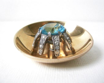 Reserved Vintage Mazer Concave Round Vermeil Sterling Silver Brooch Set With Large Aqua Glass Stone